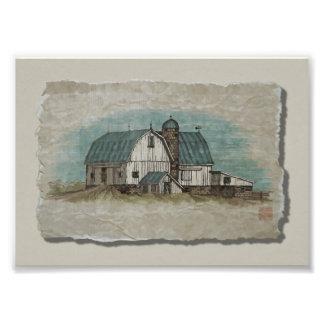 Granero blanco grande de Amish Impresión Fotográfica