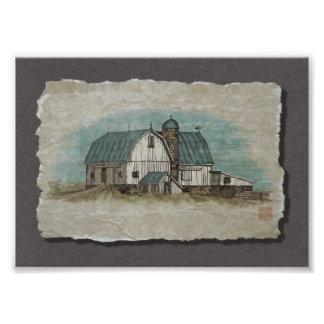 Granero blanco grande de Amish Impresion Fotografica