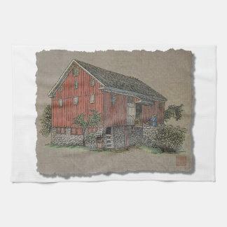 Granero de banco rojo grande toalla de mano