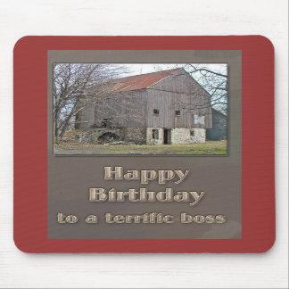 Granero de banco viejo del feliz cumpleaños de Bos Alfombrilla De Ratones