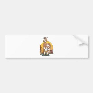 Granero de Guernesey de la vaca del dibujo animado Pegatina De Parachoque