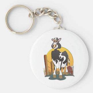 Granero de Holstein de la vaca del dibujo animado Llavero Redondo Tipo Pin