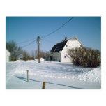 Granero de Iowa en el invierno Postal