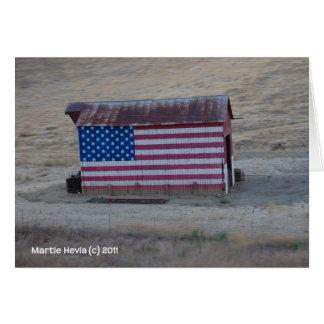 Granero de la bandera americana tarjeta de felicitación