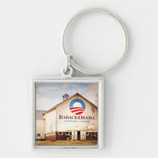 Granero de la campaña presidencial de Barack Obama Llavero Cuadrado Plateado