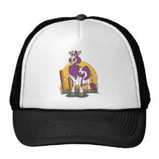 Granero de la púrpura de la vaca del dibujo animad gorros bordados