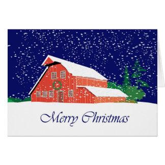 Granero de las Felices Navidad Tarjetón