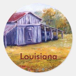 Granero de Luisiana de la bella arte de la pintura Pegatina Redonda