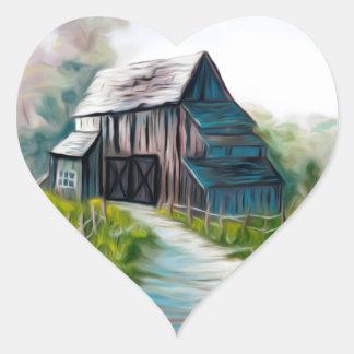 Granero de madera solo pegatina en forma de corazón