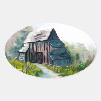 Granero de madera solo pegatina ovalada
