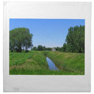 Granero del agua del campo de la foto del paisaje servilletas