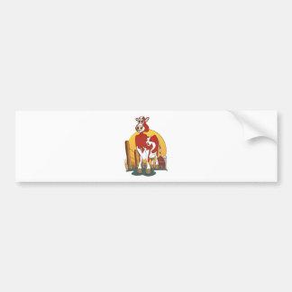 Granero del jersey de la vaca del dibujo animado pegatina de parachoque