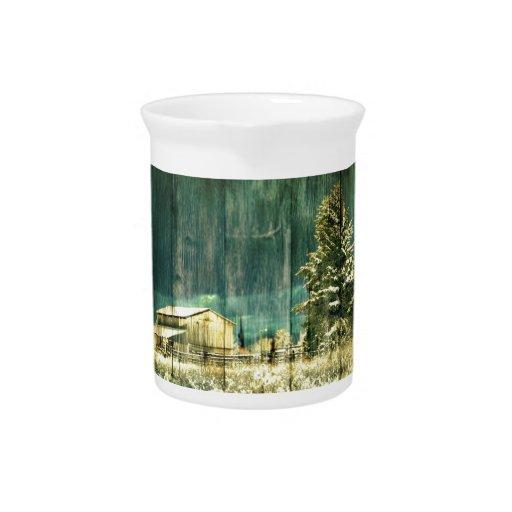 Granero del país del invierno del vintage jarras para bebida