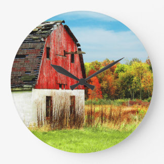 Granero del país del otoño reloj redondo grande