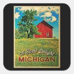 Granero del rojo del país de Michigan Calcomania Cuadradas Personalizadas
