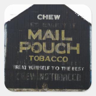 Granero del tabaco de la bolsa de correo del Chew Pegatinas Cuadradases