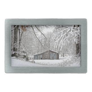 Granero del vintage en la nieve fresca - Tennessee Hebilla Cinturón Rectangular