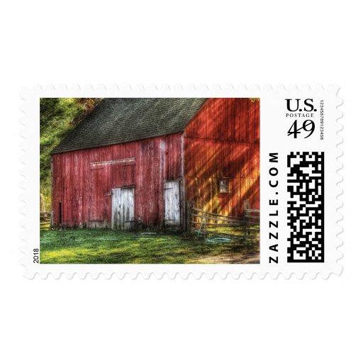 Granero - el granero rojo viejo sellos