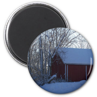 granero en invierno imán para frigorífico