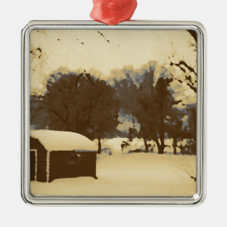 Granero en la nieve ornamento de navidad