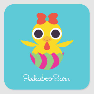 Granero Pascua el | Bayla del Peekaboo el polluelo Pegatina Cuadrada
