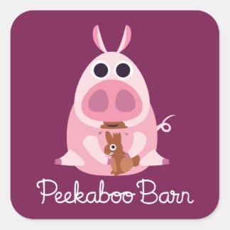 Granero Pascua el | del Peekaboo receloso el cerdo Pegatina Cuadrada