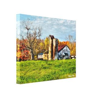 Granero resistido en otoño impresión en lienzo