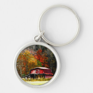 Granero rojo - colores del otoño llavero redondo plateado