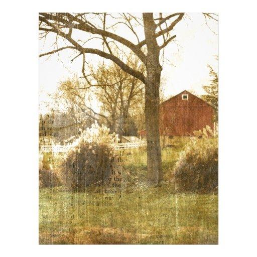Granero rojo del país rústico en campo plantillas de membrete