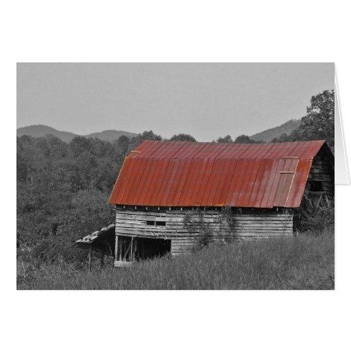 granero rojo del tejado tarjeta pequeña