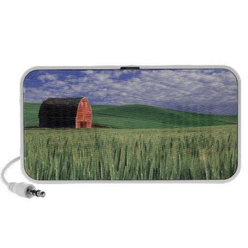 Granero rojo en campo del trigo y de la cebada en  sistema altavoz