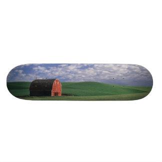 """Granero rojo en campo del trigo y de la cebada en  patineta 8 1/2"""""""
