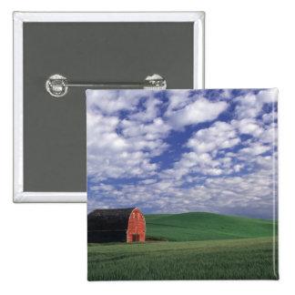 Granero rojo en campo del trigo y de la cebada en  pin cuadrado