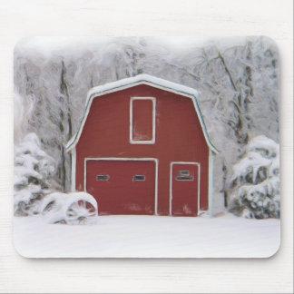 granero rojo en invierno tapetes de raton