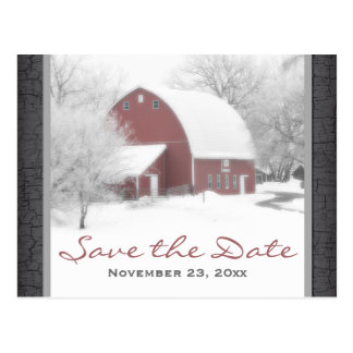 Granero rojo en reserva del boda del invierno la p postales
