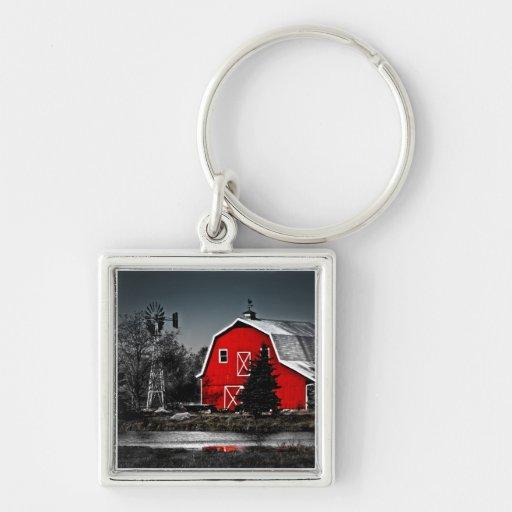 Granero rojo espectacular llaveros personalizados