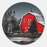 Granero rojo espectacular pegatinas redondas
