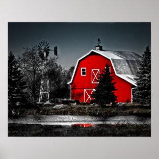 Granero rojo espectacular póster