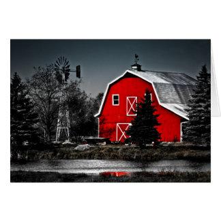Granero rojo espectacular tarjeta de felicitación