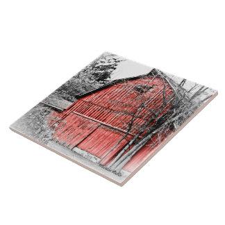 Granero rojo magnífico azulejo cuadrado grande