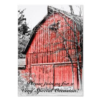 Granero rojo magnífico invitación 12,7 x 17,8 cm