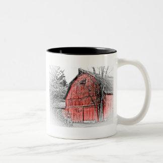 Granero rojo magnífico tazas de café