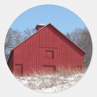 Granero rojo pegatina redonda