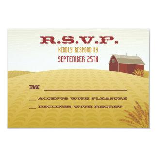 Granero rojo que casa la tarjeta de RSVP Invitación 8,9 X 12,7 Cm