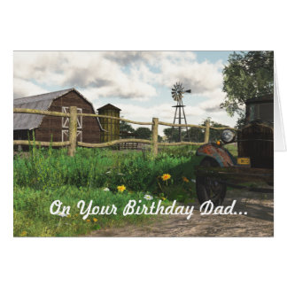 Granero rojo viejo y tarjeta de cumpleaños oxidada