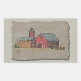 Granero rojo y dos cochecillos rectangular pegatina