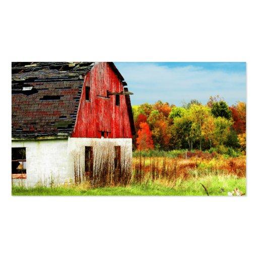 Granero rural del país del otoño tarjetas de visita