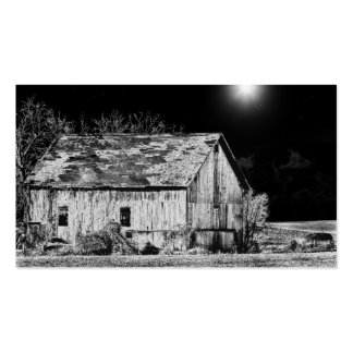 Granero rural en la noche tarjetas de visita