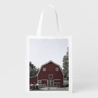 granero rústico del rojo del paisaje de la granja bolsa para la compra