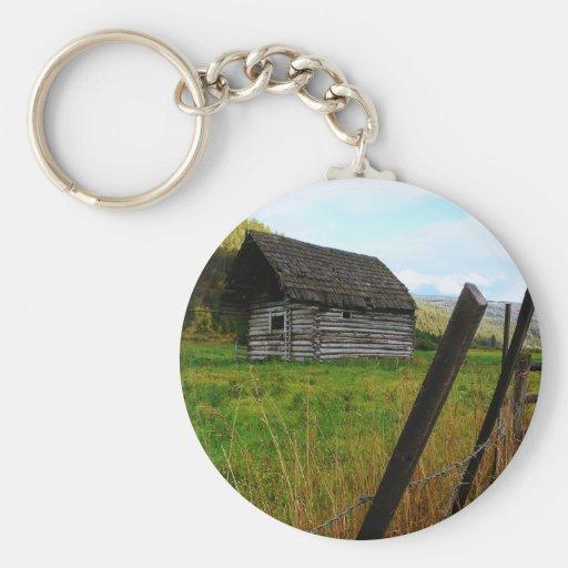 Granero viejo abandonado en campo rural con la cer llaveros